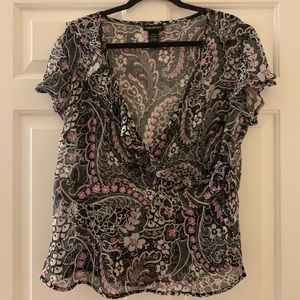 NWOT LANE BRYANT blouse/sheer & wrap around